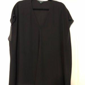 Black Lauren sleeveless flowy silky top on 3x